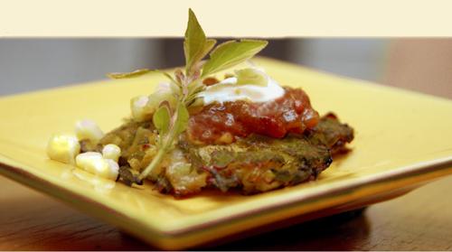 Zucchini Rutabaga Cakes with Tomato Marmalad